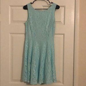 Aqua lace silver short dress